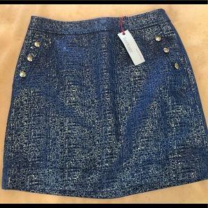 NWT - Banana Republic blue with gold mini skirt